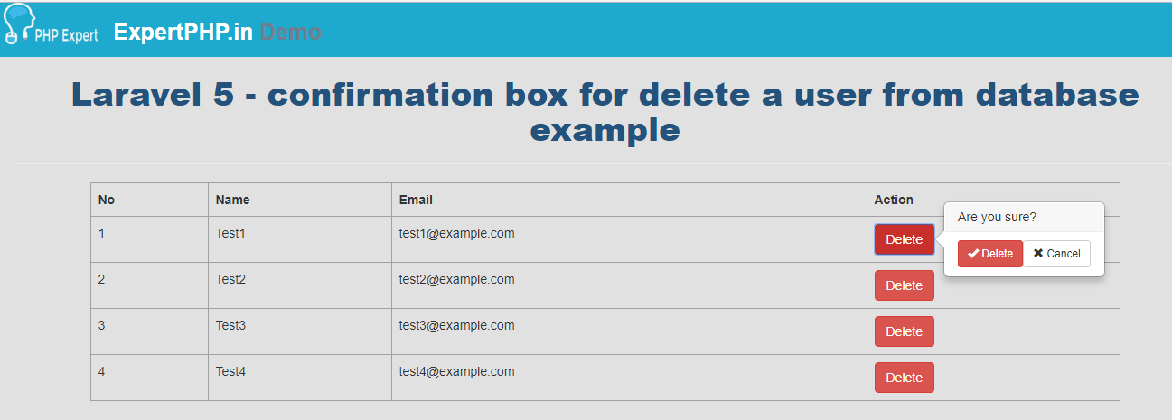 Laravel 5 - confirmation box for delete a member from