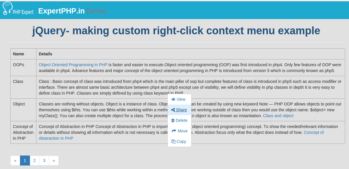 jQuery making custom right-click context menu example