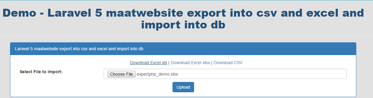 Laravel 5 maatwebsite import excel into DB and export data into csv and excel
