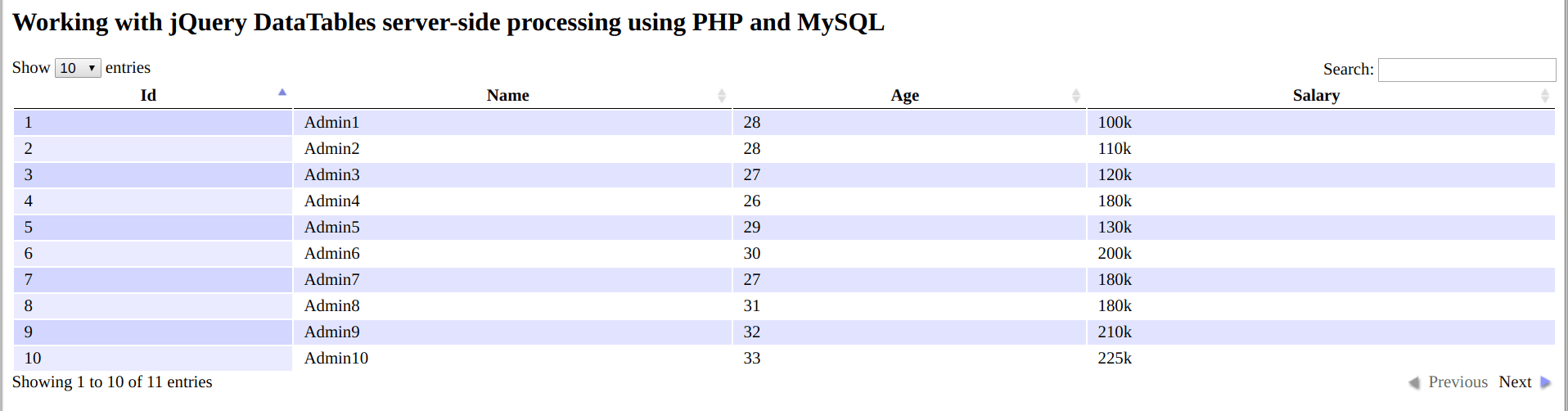 Working with jQuery DataTables server-side processing using PHP and MySQL