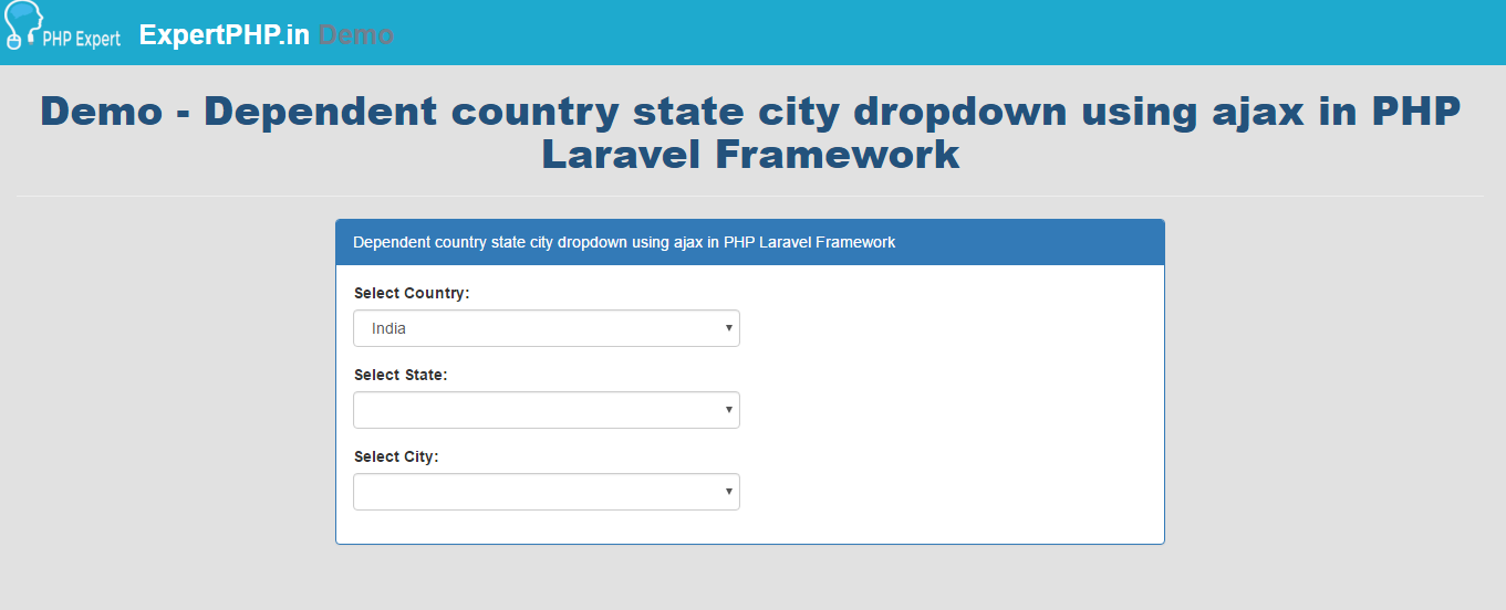 Dependent country state city dropdown using jquery ajax in Laravel 5