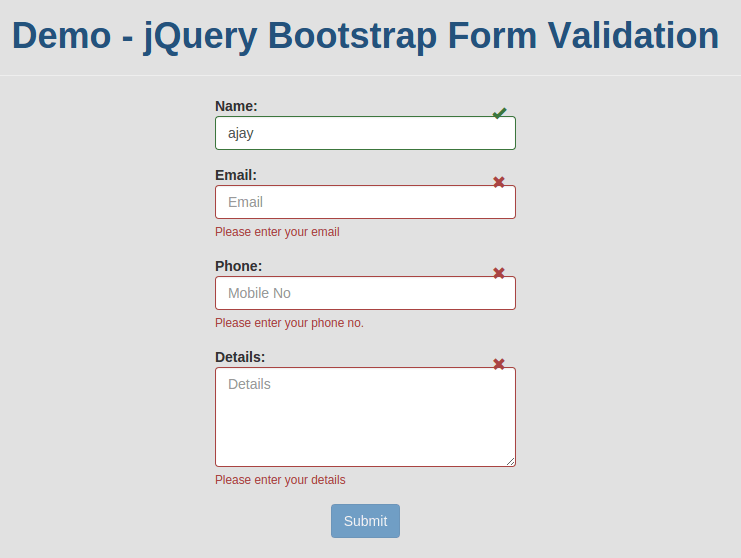 Powerful jQuery Bootstrap Form Validation with Example