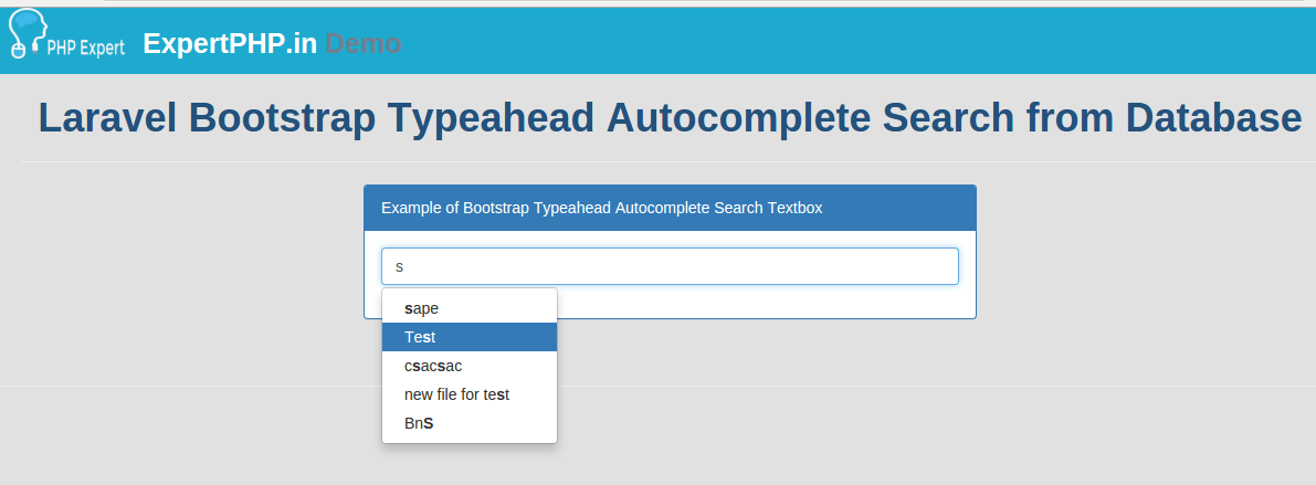 Laravel bootstrap typeahead autocomplete search from database laravel bootstrap typeahead autocomplete search from database expertphp malvernweather Gallery