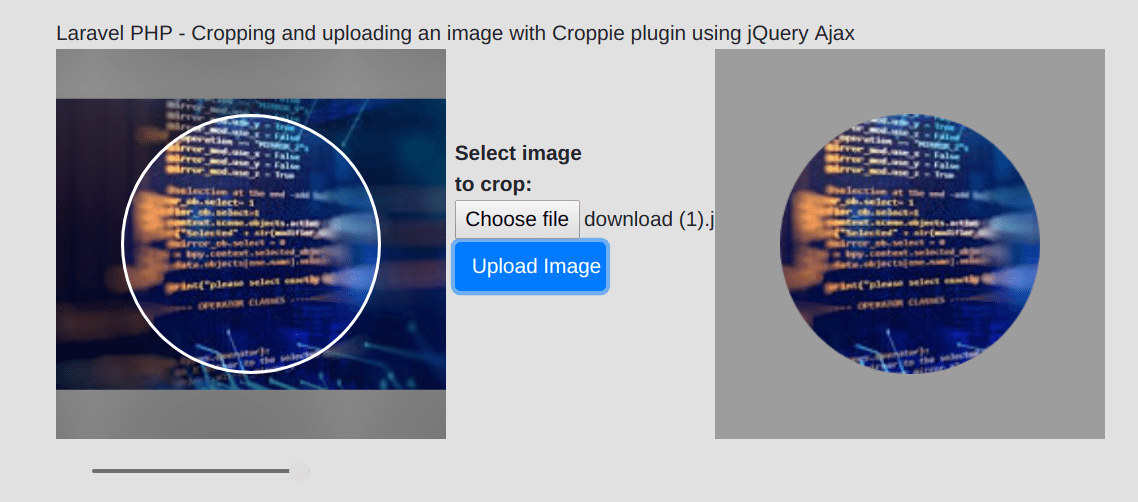 Laravel PHP - Cropping and uploading an image with Croppie plugin using jQuery Ajax