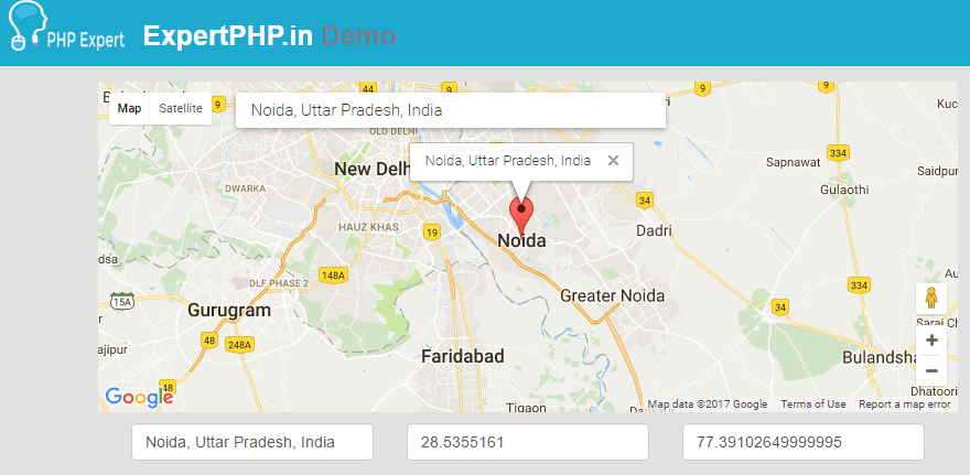 Autocomplete search address form using Google map and get data into form example