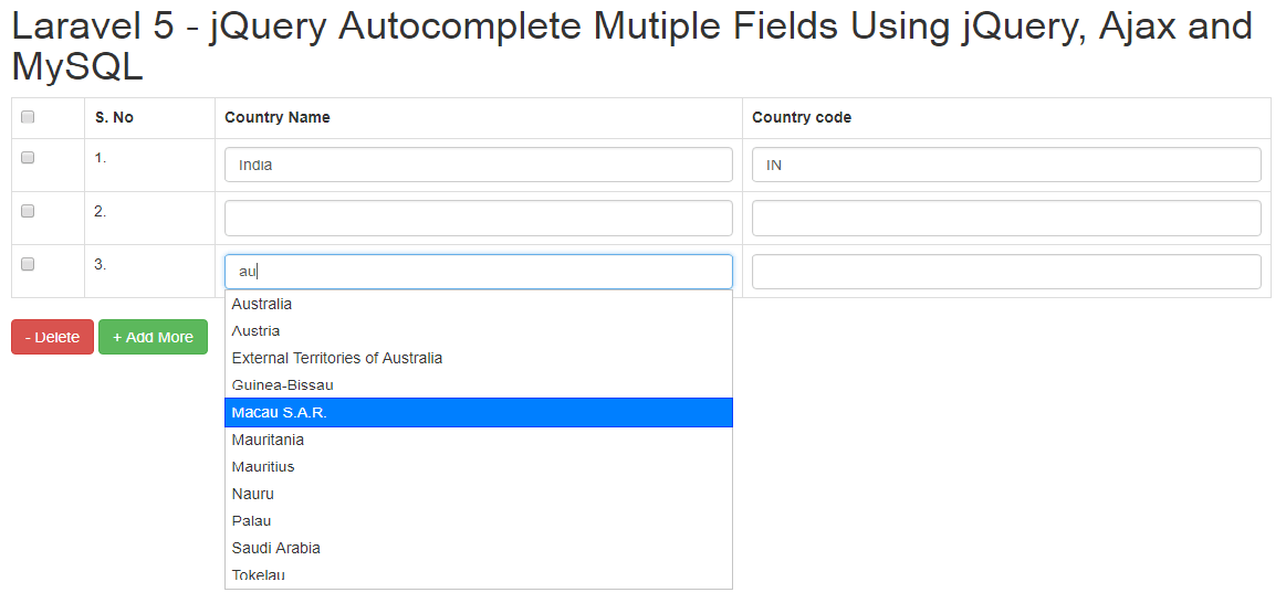 Laravel 5 - Autocomplete Mutiple Fields Using jQuery, Ajax and MySQL