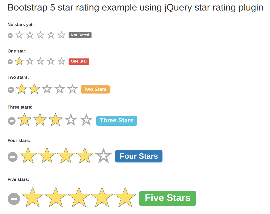 Bootstrap 5 star rating example using jQuery star rating plugin