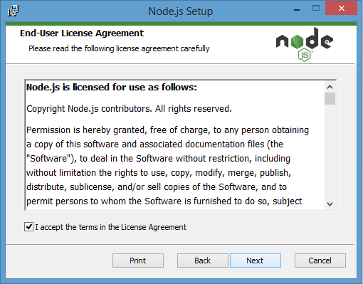 License Agreement to install node.js