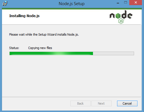 progress of installation process node.js