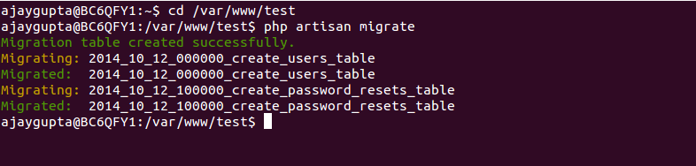 php artisan migrate command